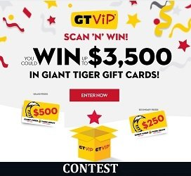Giant Tiger Contest: GT Vip Scan & Win $3,500 Prize