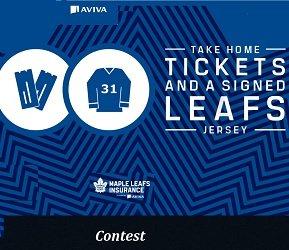 Maple Leafs Insurance Contest Toronto Maple Leaf Giveaways at  www.leafsinsurance.com/aviva