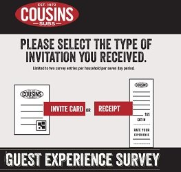 Cousins Subs Survey Sweepstakes at www.ratecousinssubs.com