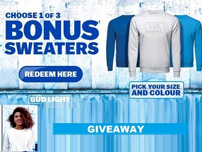 #budlight giveaway win free sweater prizes