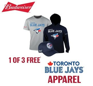Budweiser.ca Enter Pin Codes for free Blue Jays Apparel Giveaway