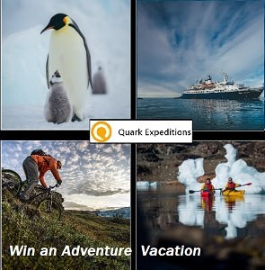 Quark Expeditions Contest Polar Travel Giveaways , Win a trip to the Arctic and Antarctica